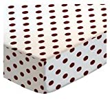 SheetWorld Fitted Cradle Sheet - Burgundy Polka Dots - Made In USA
