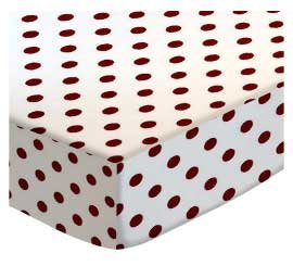 SheetWorld Fitted Cradle Sheet - Burgundy Polka Dots - Made In USA by SHEETWORLD.COM