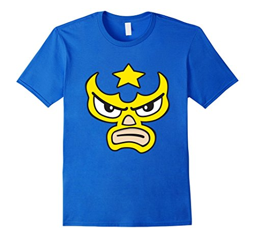 Halloween Luchador Costume (Mens Luchador Love Yellow Mask Cartoon Face Graphic T-Shirt 2XL Royal Blue)