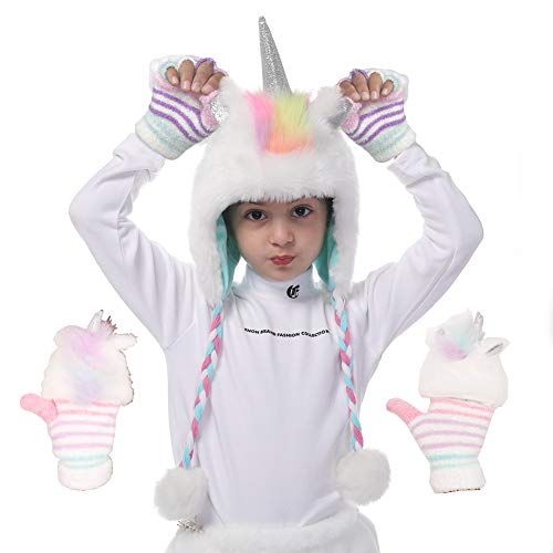 Unicorn Faux Fur Hoodie Hats for Girls with Winter Gloves as Birthday Gifts White