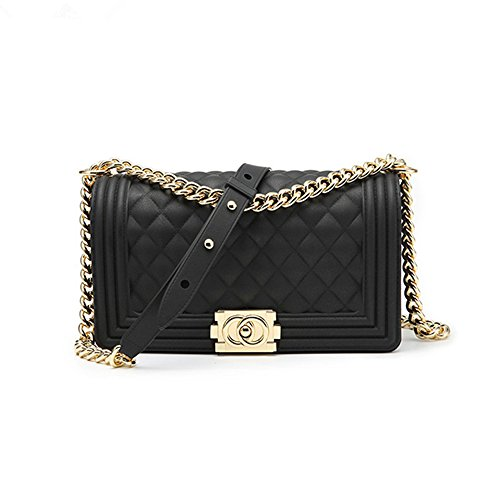 Classic Silicon Quilted Crossbody Bag Luxury Shoulder Handbags Purses For Womens Girls (Black S)