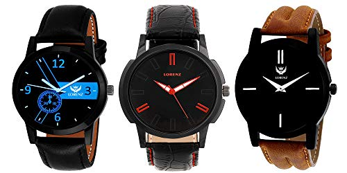 LORENZ Analogue Black Dial Men's Watch  MK 140713A    Combo of 3