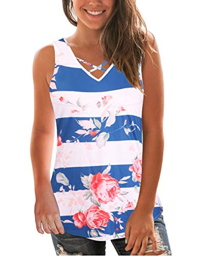 Floral Print Tops for Women Sleeveless Blue Rose Color Block Tanks Striped T-Shirts