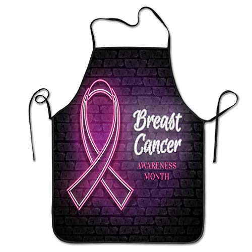 Funny Personality Apron Breast Cancer Awareness Month Emblem Pink Ribbon Symbol Breast Cancer Awareness Month Emblem Pink Ribbon Symbol neon lamp Glow Chef Kitchen Aprons 20.4 28.3 inch ()