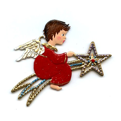 Angel Riding Comet- German Pewter Christmas Ornament