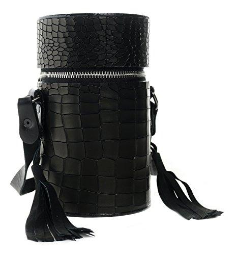 Gepherrini Designer HandMade Italian Genuine Leather Signature Tote Crossbody Shoulder Handbag for Women (Black Diamond) by Gepherrini
