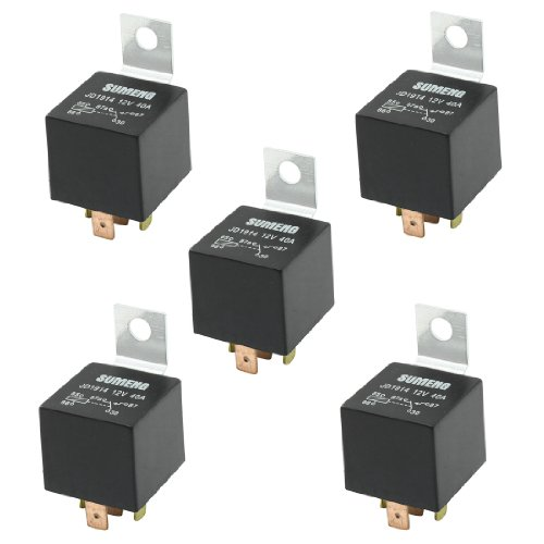 Uxcell a13070900ux0717 DC 12V 40 Amp 1NO 1NC SPDT 5 Pin Male Plug Truck Car Power Relay (5 Piece)