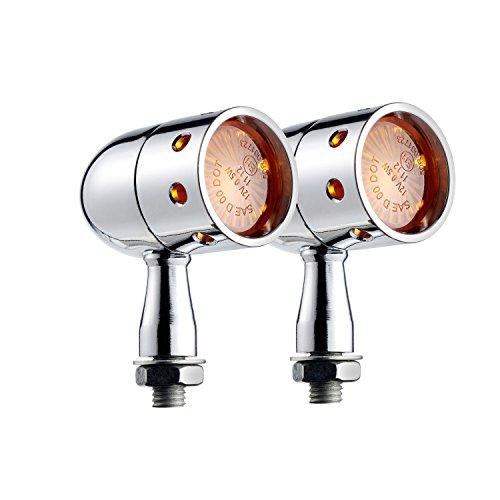MGOD Motorcycle Turn Signals Brake Light Amber Lens for Harley Honda Suzuki Yamaha Kawasaki,2 Pack (Silver)