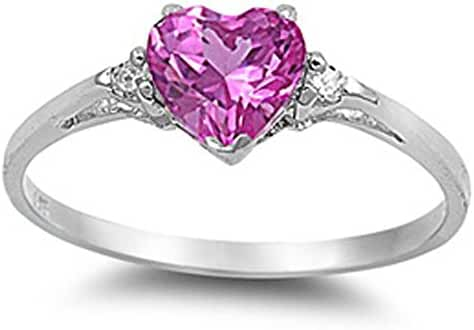 Sterling Silver Heart Promise Ring Sizes 3-12 (All Colors Available)