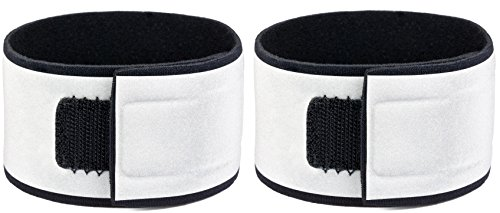 Reflective Neoprene Wristbands (Pair) - Specifically Designed for Wrists - Very Large Reflective Surface Area: 1.8 inches wide and 360°- Super Bright, Comfortable - Straps for Biking, Running, Walking by Leg Shield