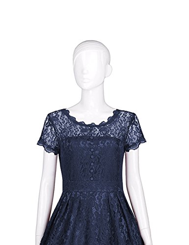 Slim Sleeve Collar 891 Short Women's A blue ADAMARIS Dress Line Black Square Summer xZFnIxqYU