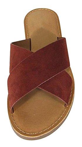 Cambridge Select Womens Open Toe Crisscross Strap Slip-On Flat Slide Sandal Dark Rust Imsu uBCKd