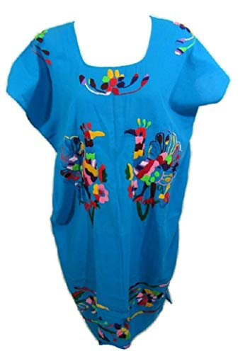 (Women'S Mexican HUIPIL Hand Embroidered & Sewn 100% Cotton Village Traditional Pull-ON Dress (Bright Blue-Peacocks))