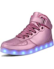 WONZOM FASHION LED Light Up Shoes USB Flashing Sneakers for Toddler/Kids Boots -