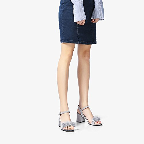 Zhirong Primavera E Lestate Femminile Sandalo Parola Fibbia Open Toe Sandali Tacco Alto Tallone Spesso Scarpe Casual Da Donna (colore: A, Dimensione: Eu36 / Uk3.5 / Cn35) B