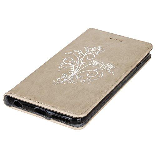 Cozy Hut iPhone 6 Plus / 6S Plus (5,5 Zoll) Hülle Schutzhülle Automatische Adsorption PU Leder Flip Wallet Case Brieftasche mit Magnetverschluss Bronzing Gartenblumen Schmetterling Butterfly Muster Co