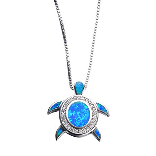 - Hermosa Mom Gifts 925 Sterling Silver Sea Turtle Blue Opal Women Pendant Necklace Earrings (Fat Turtle Necklace)