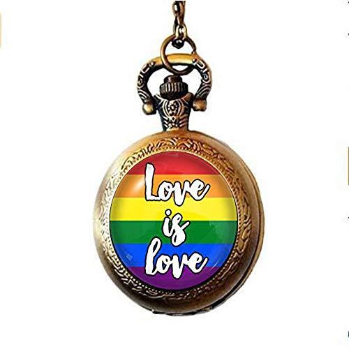 Love is Love Gay Pride Pocket Watch Necklace, Glass Dome Pocket Watch Necklace, LGBT Gift, Charm Jewelry