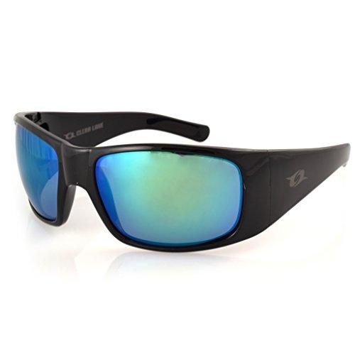 Clear Lake Montana Fishing Sunglasses, Black Frame, Polarized Green Mirror - Usa Fishing In Sunglasses Made