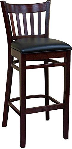 American Tables & Seating 900-BS-DM-BP 5 Slat Back Wood Bar Stool, Black Pad Seat, 17'' x 16'' x 44'', Dark Mahogany by American Tables and Seating