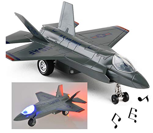 (nice--buy 7 inch Airplane Toys Die Cast Metal Lockheed Martin F-35B F-35 Lightning II with Light and Sound Pull Back Power Military Toy (Grey))