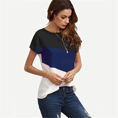 Shirt Femme Foncé Courtes Meibax Col Saison Veste D'été Chemisier Mousseline En Blouse Chemisier2018 Tee Bleu Bleue Manches O0nNPk8wX