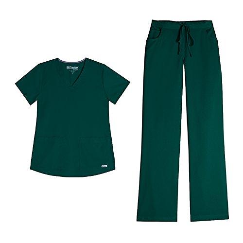 Hunter Green Three Pocket (Grey's Anatomy Womens 71166 3 POCKET V-NECK TOP & 4232 Drawstring Cargo Comfort Pant Medical Uniform Scrub Set Top & Pants (Hunter Green - X-Small / XSmall Petite))