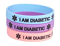 Diabetic Medical Alert Bracelet, 3 Pack, Pastel Pink Blue and Purple