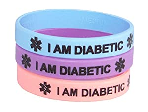 Diabetic Medical Alert Bracelet, 3 Pack, Pastel Pink Blue and Purple