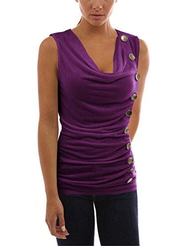 Donna 1 Maniche Casual da Shirt Estiva T V da Camicetta T Tenxin Donna a Scollo Shirt C Senza con XFAUq