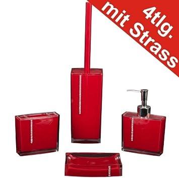 Badezimmer Set 4tlg. Strass rot Seifenspender WC-Bürste ...