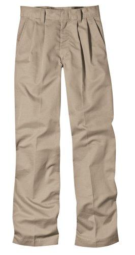Dickies Big Boys' Pleated Front Pant, Khaki, 14 Husky