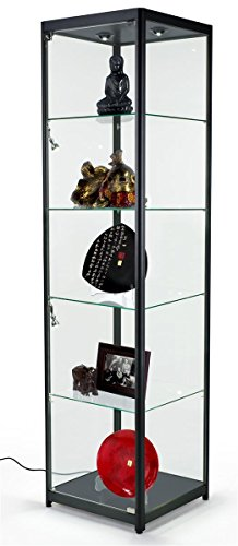 tempered-glass-curio-cabinet-with-6-halogen-lights-free-standing-locking-hinged-door-floor-levelers-
