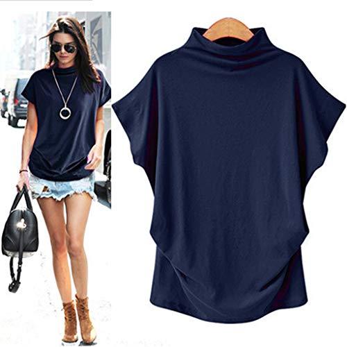 COOKI Women Shirts Turtleneck Short Sleeve Cotton Blouse T Shirt Casual Loose Tunic Tops Navy