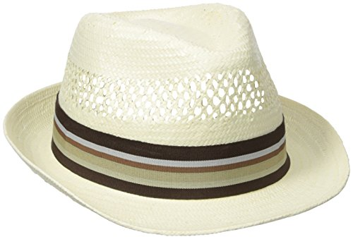 Henschel Men's Vented Toyo Straw Fedora with Striped Ribbon Band, Natural, X-Large