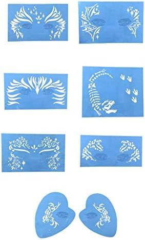 塗装ステンシル 塗装テンプレート フェイスペインティング ステンシル 再使用可能 化粧 道具 7個セット