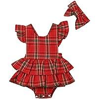 VISGOGO Newborn Infant Baby Girl Plaids Ruffle Romper Dress Bodysuit +Headband 2pcs Outfit Clothes Set