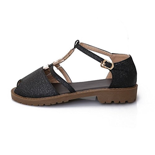 AllhqFashion Women's Low-heels Soft Material Solid Buckle Peep Toe Sandals Black lSOuT