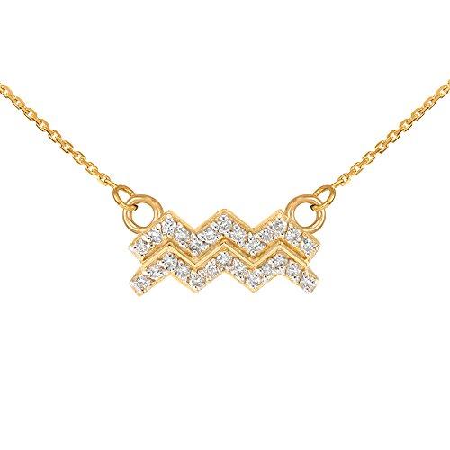 Collier Femme Pendentif 14 ct Or Jaune Verseau Signe Du Zodiaque Diamant (Livré avec une 45cm Chaîne)