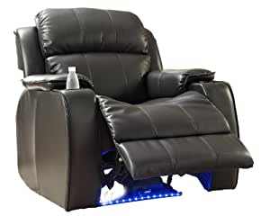 Homelegance 9745BLK-1 Jimmy Collection Upholstered Power Reclining Massage Chair, Black Bonded Leather