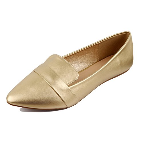 Penny Gold Heart Pointy Toe Soft Guilty Women Shoe On Loafer Slip Flats Comfortable Wz7nfF6