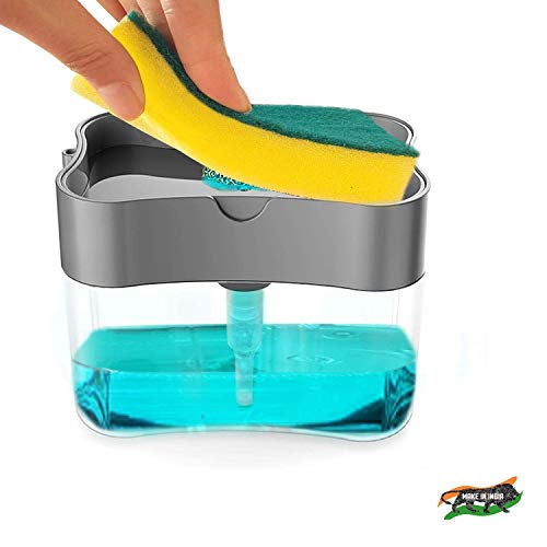 ZooY Smarty 2 in 1 Soap Dispenser for Dishwasher Liquid Holder , Liquid Dispenser Through Pump ( Multi-Color , 400 ML) with Sponge