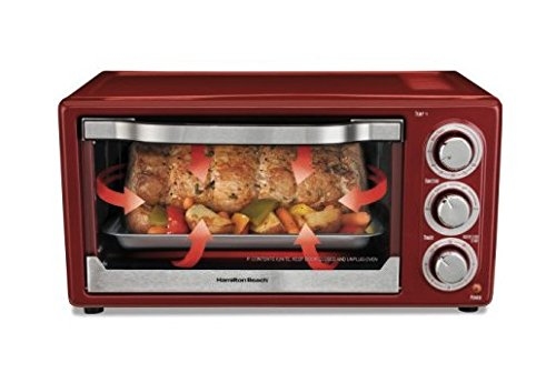 Toaster Oven Red Hamilton Beach 6 Slice Kitchen Cooking For Pizza Bread Chicken Sandwitch Hotdog Cookie Baking Broil Convection Cooks Faster 2 Rack Positions