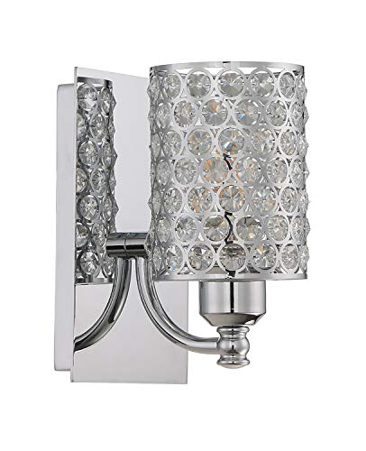 Seenming Lighting 1 Light Crystal Wall Sconce Lighting with Chrome,Modern and Concise Style Wall Light Fixture with…