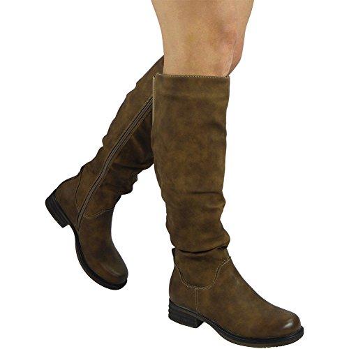 Damen Rouched Lange Kalb Fahrer Reißverschluss Niedrig Hacke Knie Hoch Stiefel Größe 36-41 Khaki