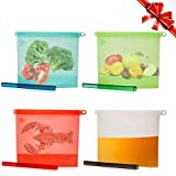 Reusable Silicone Food Storage Bags with Slider- Sandwich Ziplock Container, Lunch, Snack Bag for Freeze, Steam, Heat, Microwave Fruits Vegetables Meat Milk-Airtight & Leak-Proof