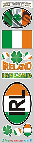 Car Chrome Decals STS-IRL Ireland Irish 10 stickers set flag decal bumper stiker car auto bike ()