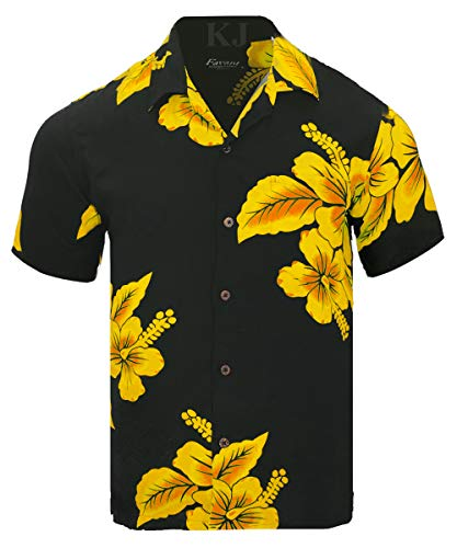 Favant Tropical Luau Beach Hibiscus Floral Print Men's Hawaiian Aloha Shirt (Medium, Black/Yellow) ()