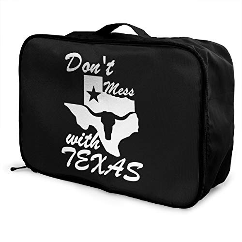 (PLOR Don't Mess with Texas State Longhorn Star Travel Duffel Bag Portable Weekend Luggage Bag Backpack Funny Novelty)