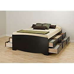 Metro Shop Black Tall Queen 12-drawer Captain's Platform Storage Bed